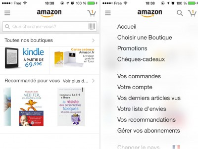 Screenshot application Amazon
