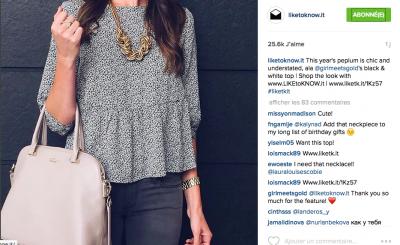 Extrait du compte Instagram LIKEtoKNOW avec mis en avant d'un blogueur