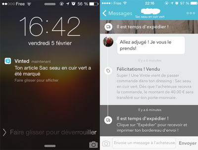 Notification et validation de vente